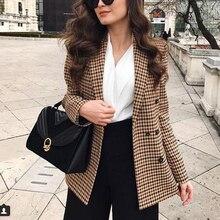 אופנה סתיו נשים משובץ טרייל ומעילים עבודת משרד ליידי Slim טור כפתורים כפול עסקי מעיל נשי Talever