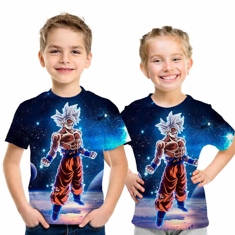 Новая детская футболка с 3D рисунком Dragon Ball Z Ultra Instinct Goku Super Saiyan God Blue Vegeta, летняя футболка с рисунком для мальчиков и девочек