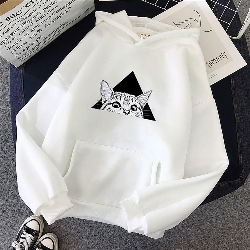 Winter Women Hoodies Sweatshirts Fall Fashion Long Sleeve Pocket Harajuku Pullover Clothes Print Casual Warm White Sweatshirt