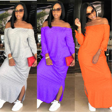 Summer casual dress, Off the Shoulder style European and American style, loose comfortable long dress