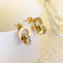YUNRUO Cubic Zirconia Roman Number Earring Titanium Steel Rose Gold Color Jewelry Woman Fashion Accessories Free