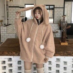 Image 1 - Elegant Faux Fur Hoodieแจ็คเก็ตผู้หญิงฤดูใบไม้ร่วงฤดูหนาวWarm Soft Fur Zipper Hoodiesน่ารักกระต่ายหูตุ๊กตาHoodies Sweatshirt