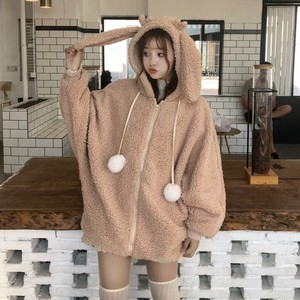 Image 1 - Elegante Faux Fur Hoodie Jas Vrouwen Herfst Winter Warm Soft Bont Rits Hoodies Pocket Leuke Konijnenoren Pluche Hoodies Sweatshirt