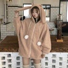 Elegante casaco com capuz de pele do falso outono inverno quente macio pele com zíper hoodies bolso bonito orelhas de coelho plush hoodies moletom