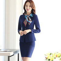 Workwear Women's Skirt Suit Hotel Reception Front Desk Work Suit 2 Pcs Full Sleeve Jacket Skirt/ Tousers Formal Uniform ow0528