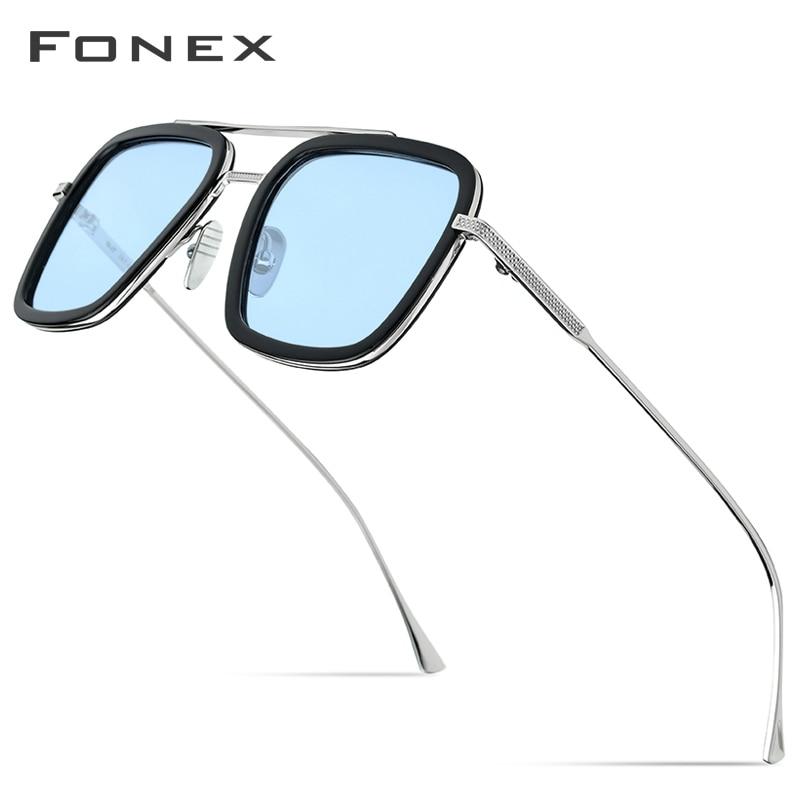 FONEX Pure Titanium Acetate Polarized Sunglass Men Retro Tony Stark Sunglasses New Vintage Edith Sun Glasses For Women 8512