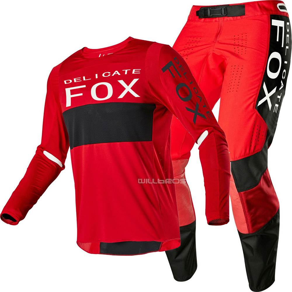 2020 Delicate Fox Motocross Gear Set Motorcycle ATV Bike Riding Men's Red Black Suit