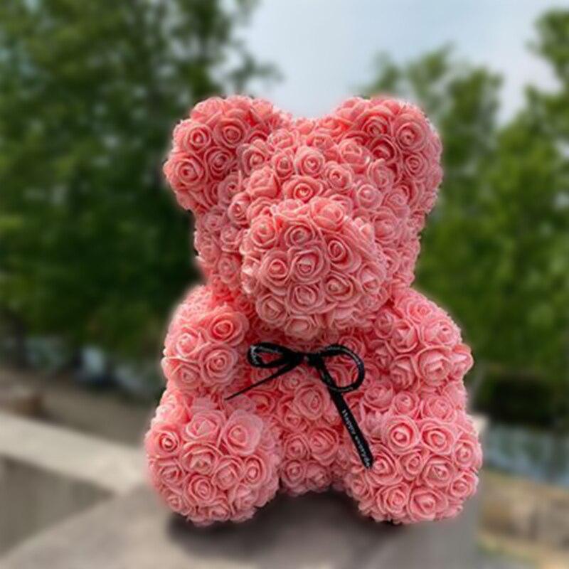 Медвежонок из искусственных роз ко дню св. Валентина (25 см)
