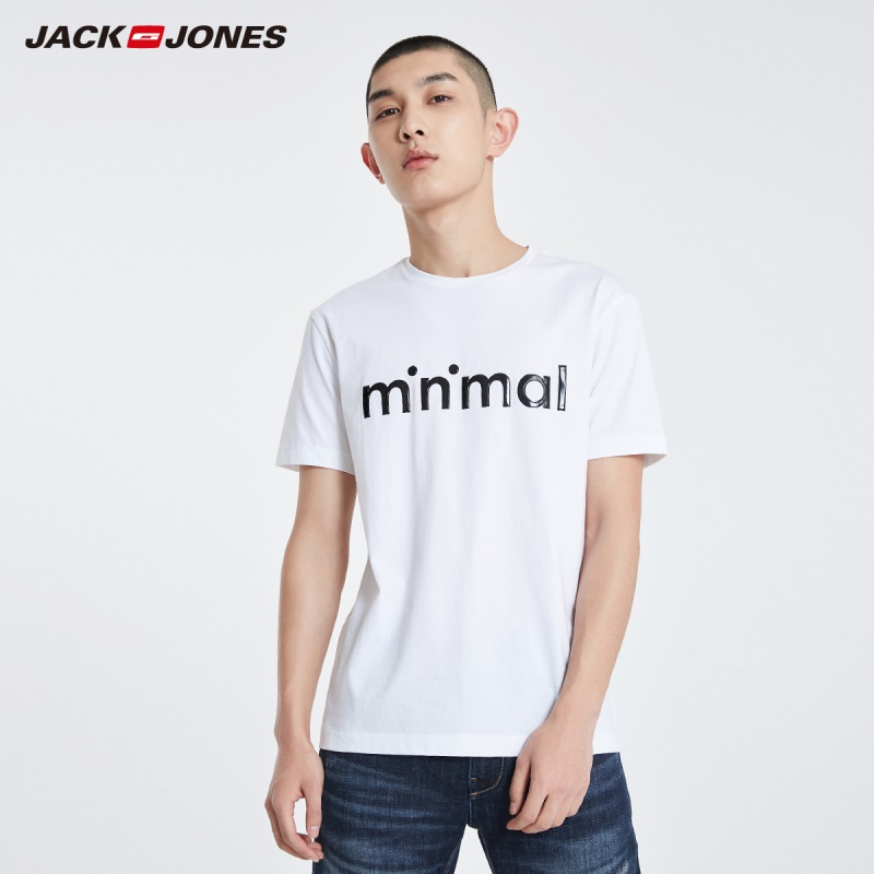JackJones Men's 100% Cotton 3D Letter Print Straight Fit Short-sleeved Style T-shirt Menswear| 219101573
