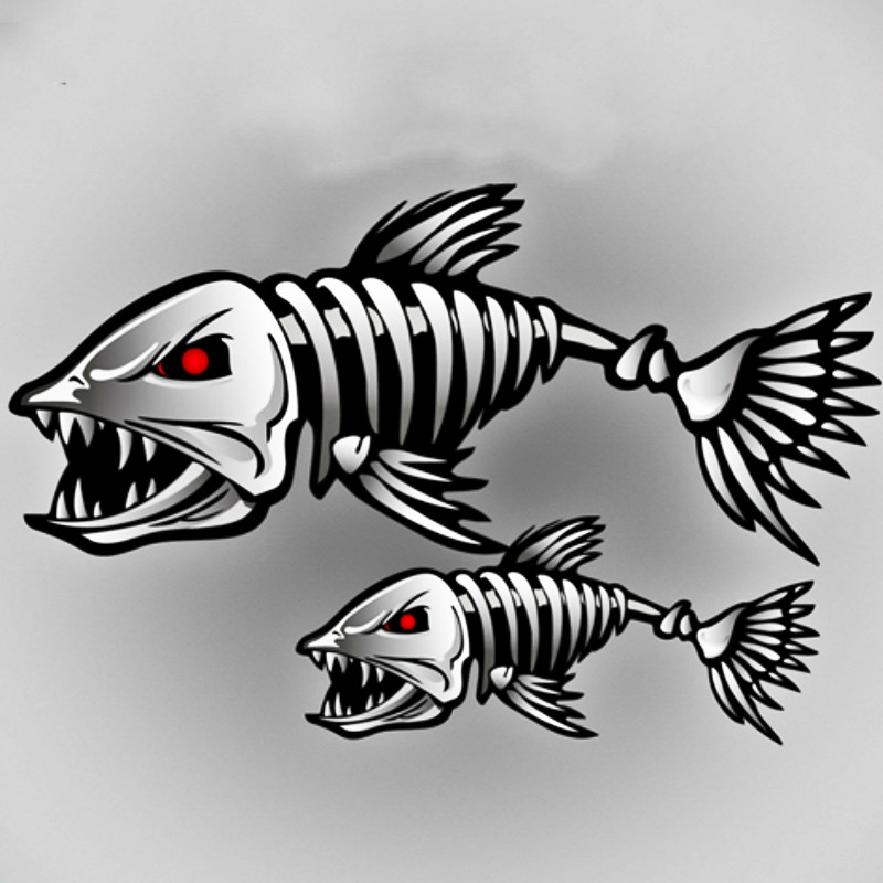 2 <font><b>X</b></font> Aliauto 3D Car Accessories Car-styling Skeleton Shark Car <font><b>Sticker</b></font> and Decal Go Fish for <font><b>Motorcycle</b></font> Volkswagen Golf Bmw Ford image