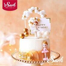Adorno de pastel para niña de Ballet Noble para fiesta de cumpleaños suministros oro Bola de Pelo arco postre decoración bebé ducha chico hornear regalo de amor