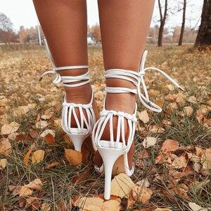 Image 3 - Kcenid แฟชั่น 2020 ฤดูร้อนผู้หญิงรองเท้าแตะ PU LACE up Knot ส้นสูงรองเท้าแตะเซ็กซี่เสือดาวรองเท้าผู้หญิงรองเท้าแตะปั๊มใหม่