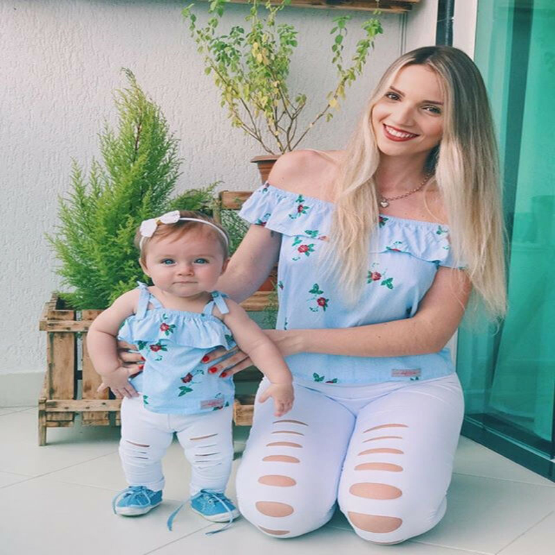 Family Matching Outfits Mother And Daughter Women Kids Floral Striped Tops + Pants 2pieces Clothes Set