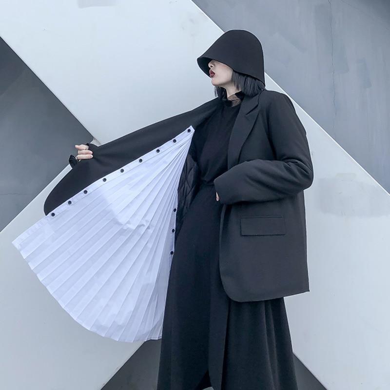 WOMENGAGA Blazer Patchwork Color Matching Irregular Women Blazers Jackets Asymmetry Long Black Blazer Coats 2020 Fashion XX163