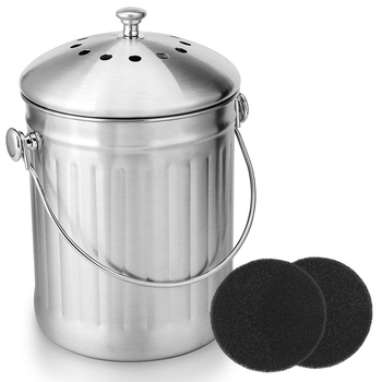 Compost Bin, Peel Bucket for Home Kitchen, Odorless Compost Bucket for Kitchen Food Waste, with Handle and 2 Charcoal Filters, 5