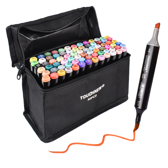 Touchnew סמן עט סט רך מברשת סמני כפולה טיפים 60/80 צבע אנימציה עבור חובבי אמנות מנגה ציור שרטוט אספקת אמנות