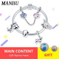 ManBu 925 Sterling Silver Animal charms beads Bracelet Bangle Fashion diy Jewelry making women Accessories