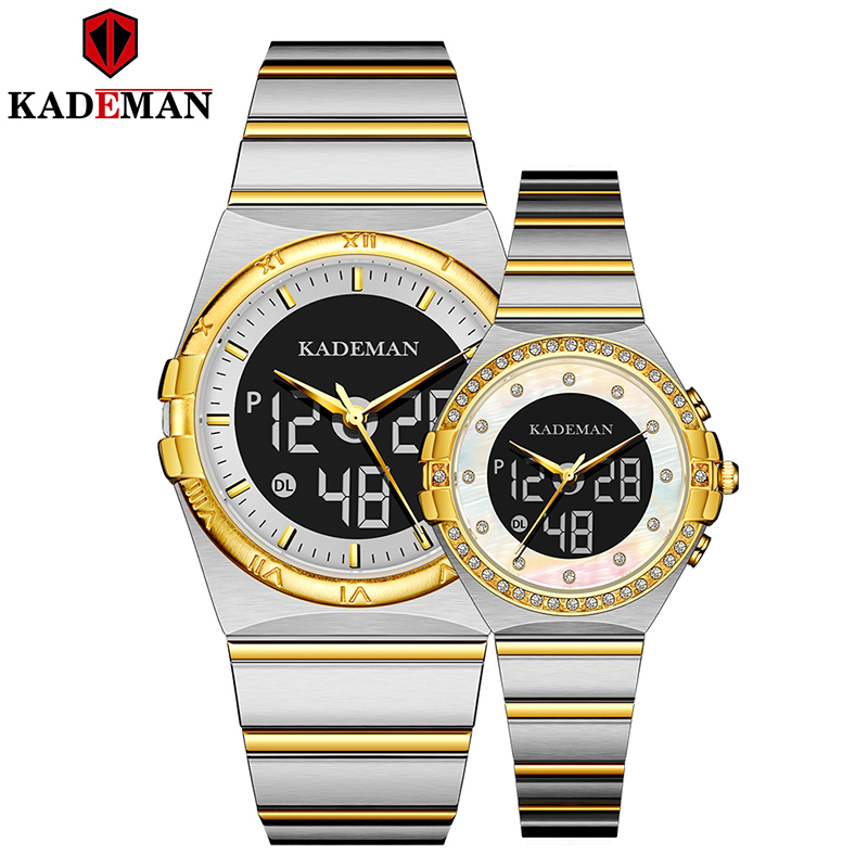 KADEMAN Couple Watch Hot Fashion Women Week Display Top Luxury Lover Full Stainless Steel Quartz Watches With Box Relojes Hombre