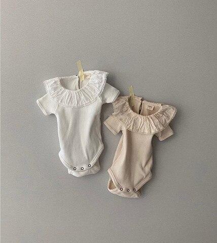 3494 verao novo bebe babados colarinho manga curta bodysuit rendas macacao ou bebe criancas camiseta