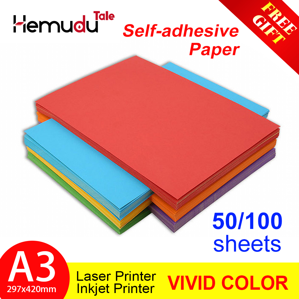 50/100sheets A3 Self-Adhesive  Paper Colorful Label Paper Inkjet Printing for Kindergarten Students DIY Sticker Paper