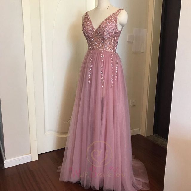 Beading Prom Dresses 2021 Plus Size Pink High Split Tulle Sweep Train Sleeveless Evening Gown A-line Lace Up Backless Vestido De 3