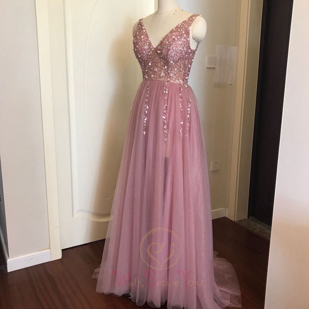 Prom-Dresses Beading Evening-Gown Train Lace-Up Tulle A-Line Vestido Backless Pink Plus-Size