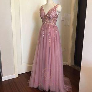 Image 3 - Kralen Prom Jurken 2020 Plus Size Roze Hoge Split Tulle Sweep Trein Mouwloze Avondjurk A lijn Lace Up Backless Vestido de