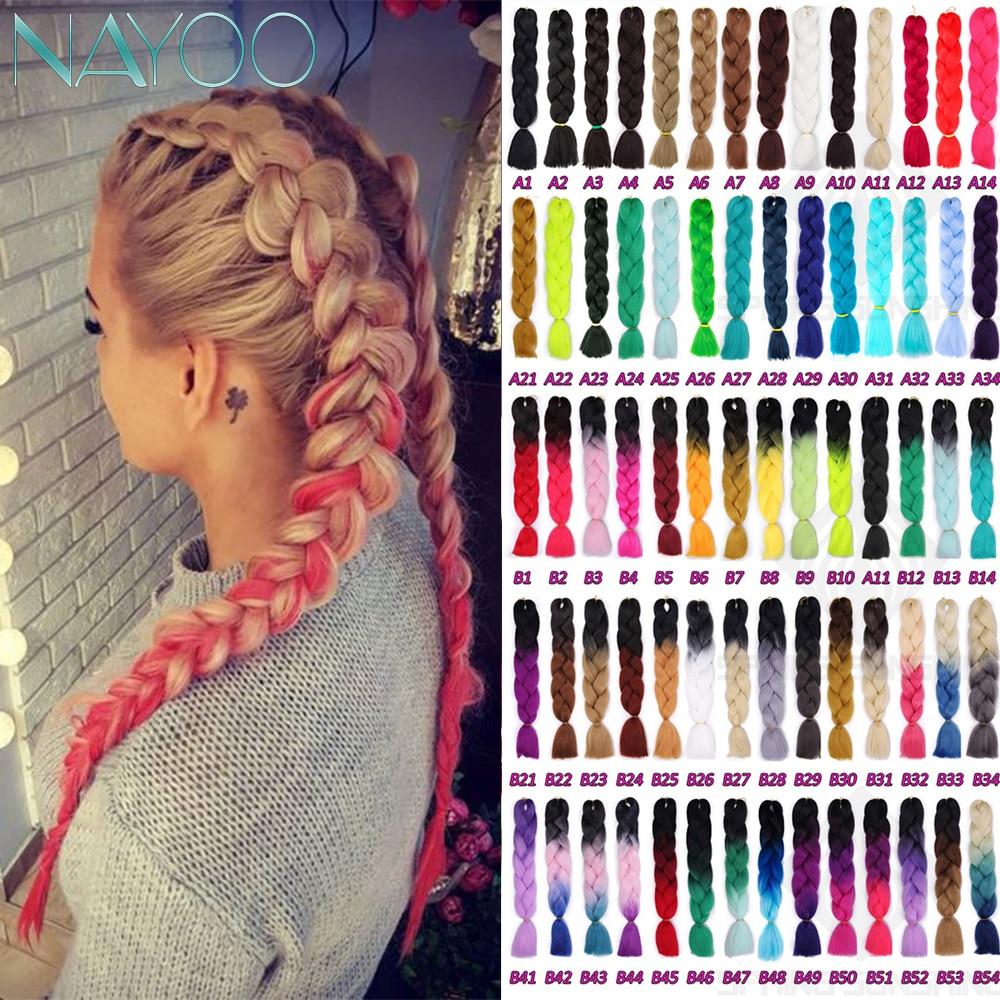 Nayoo Hair Jumbo Braids Long Ombre Jumbo Synthetic Braiding Hair Crochet Blue Grey Hair  Blonde Pink Extensions African Viscera