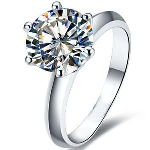 Image 2 - QYI כסף 925 טבעות נשים אירוסין כסף טבעות עגול מדומה יהלומי מאוד מבריק מתנה לחתונה טבעת אבן גודל 1/1.5/2/3 ct