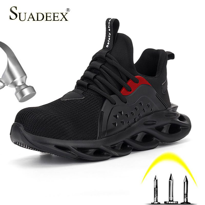 SUADEEX Work Shoes Men's Outdoor Breathable Steel Toe Anti Smashing Safety Shoes Light Puncture Proof Comfortable Safety Boots
