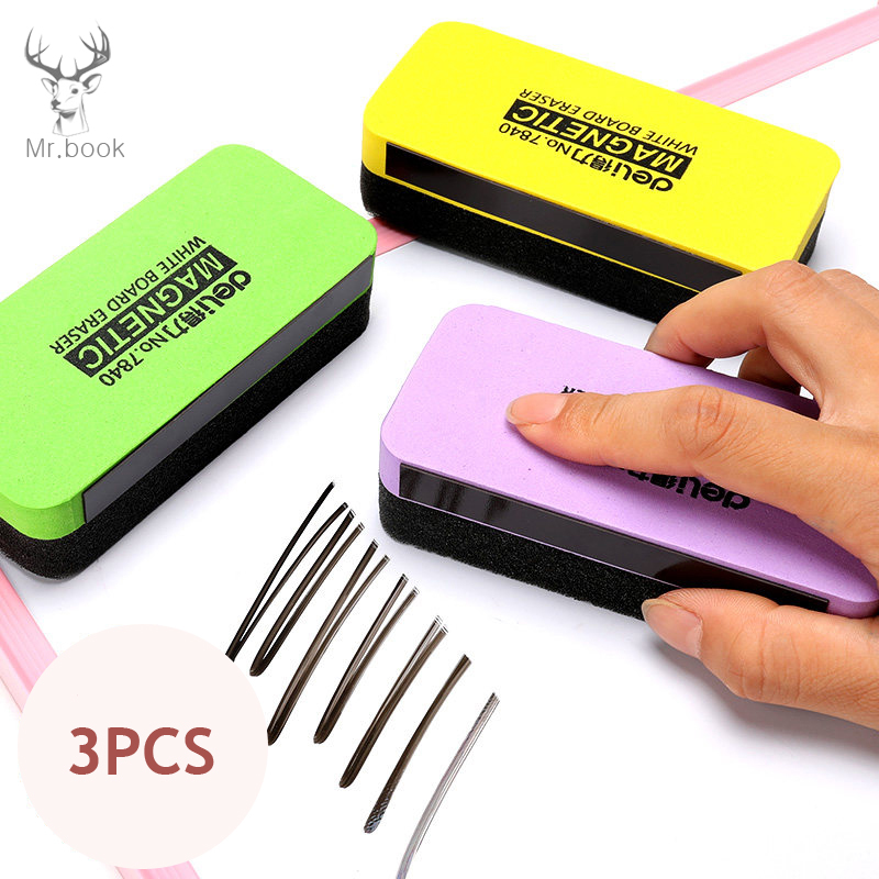 3Pcs Magnetic White Board Eraser Drywipe Marker Cleaner Absorbable Sponge Whiteboard Brush Painting Chalk Eraser School Office