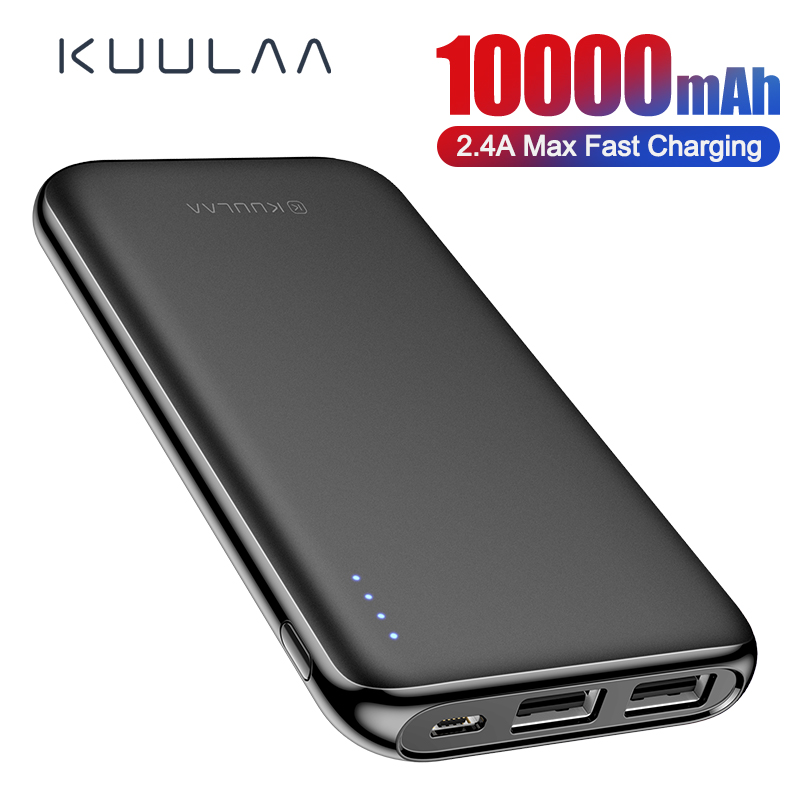 KUULAA Power Bank 10000 MAh Portable Charging Poverbank Dual USB Slim External Battery Charger For Xiaomi Mi 8 9 IPhone 8 X XR