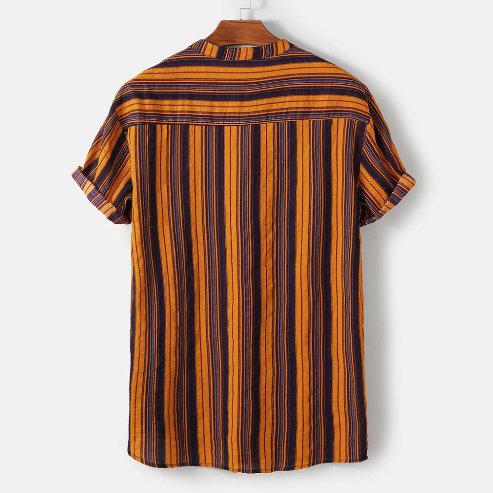 Fashion-Striped-Men-Shirt-Stand-Neck-Button-Streetwear-Casual-Brand-Shirts-Men-Hip-hop-Short-Sleeve (2)