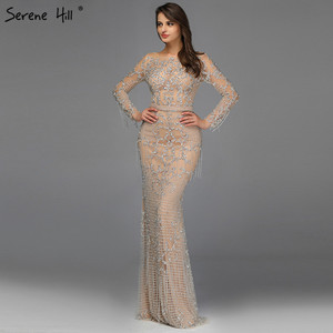 Image 5 - Dubai Luxury Long Sleeve Sparkle Tassels Evening Dresses 2020 Sequined Beading Sexy Robe De Soiree Plus Size BLA60707