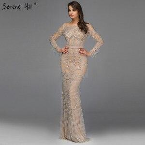 Image 5 - Dubai luxo manga longa brilho borlas vestidos de noite 2020 lantejoulas beading sexy robe de soiree plus size bla60707