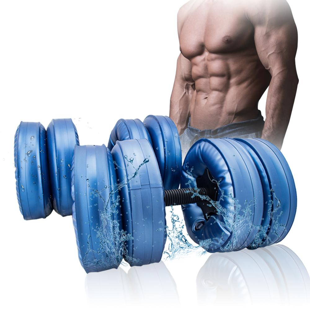 A Pair New Flexible Water Dumbbell Heavey Weight Dumbbell Gym Home Exercise Equipment Black For Bodybuilding