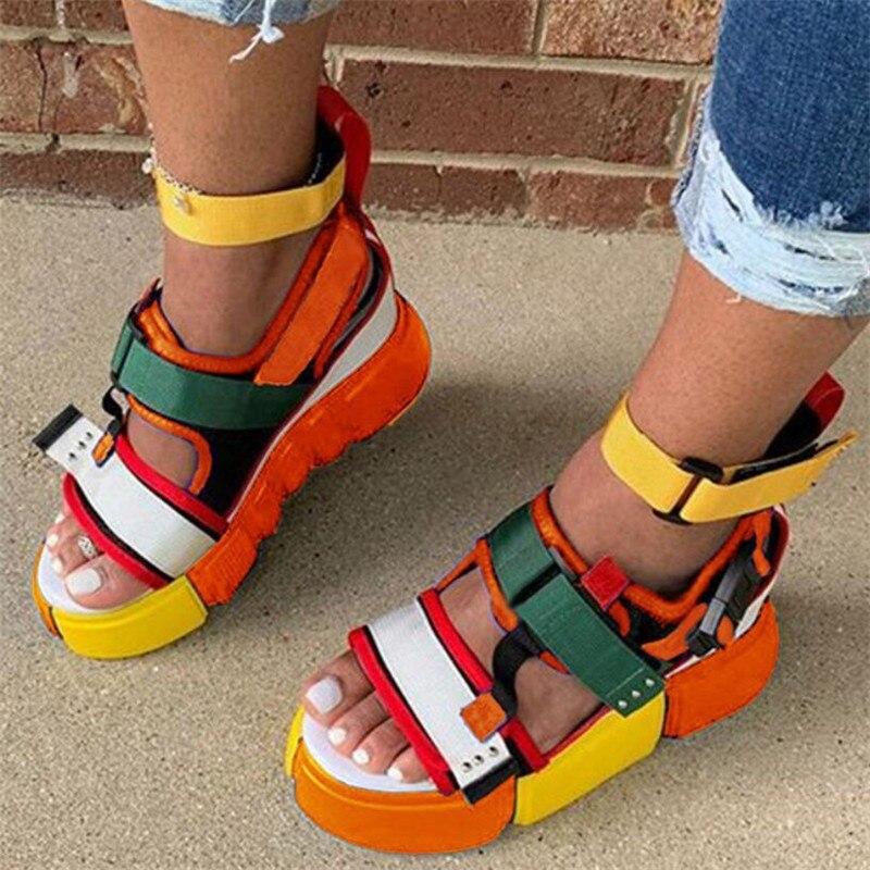 2020 Platform Sandals Women Wedge High Heels Shoes Women Hook&loop Canvas Summer Zapatos Mujer Gladiator Woman Sandals Plus Size