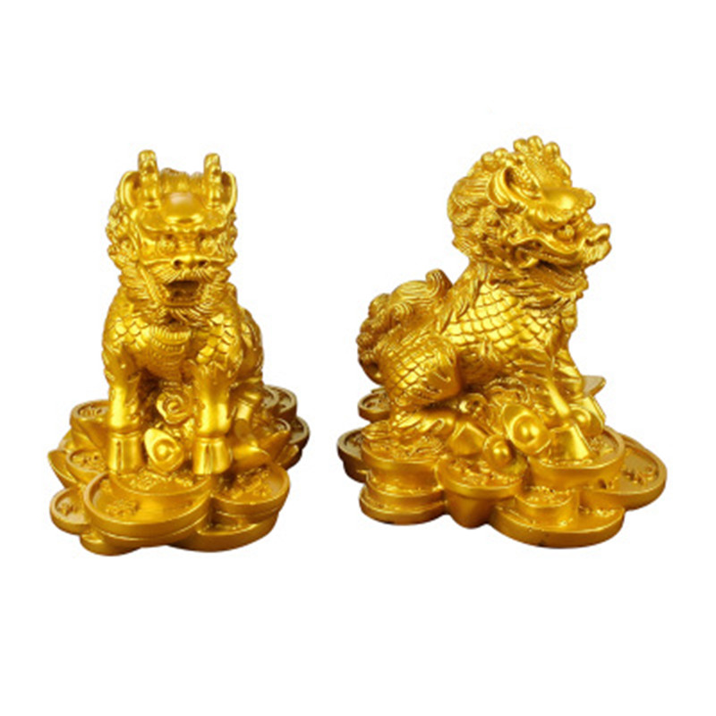 1 Pair Qi Lin Statue Home Decoration Crafts House Lucky Office Feng Shui Ornaments YLM3004