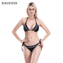 New Sexy Solid Black Bikini Women Swimsuit Border Print Bathing Suit S-L Girl Backless Halter Swimwear String Bandage Set