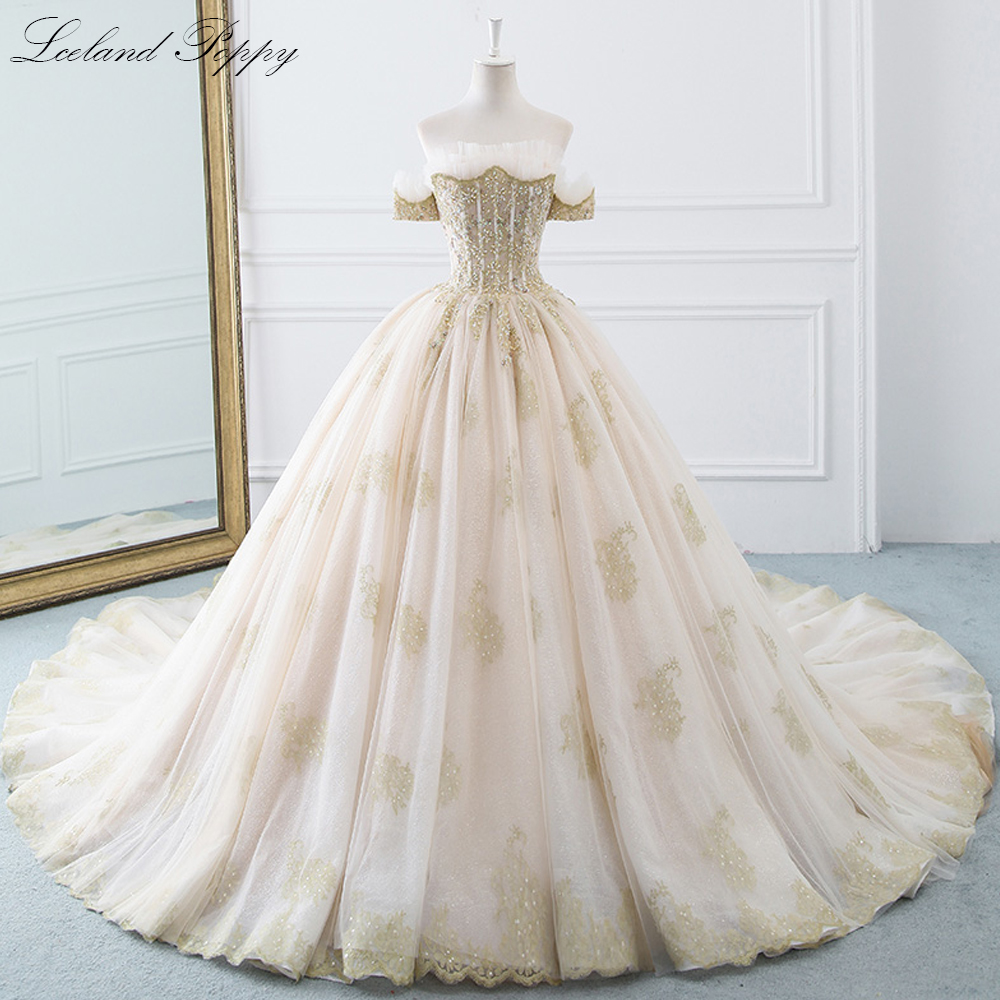 Lceland Poppy Ball Gown Wedding Dresses 2020 Off The Shoulder Luxury Pleated Beaded Vestido De Novia Bridal Gowns Chapel Train