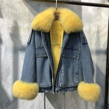 2020 kurze echtpelz mantel ganze haut rex kaninchen pelz liner Abnehmbaren fuchs pelz kragen winter warme jacke lose Koreanische denim parka(China)