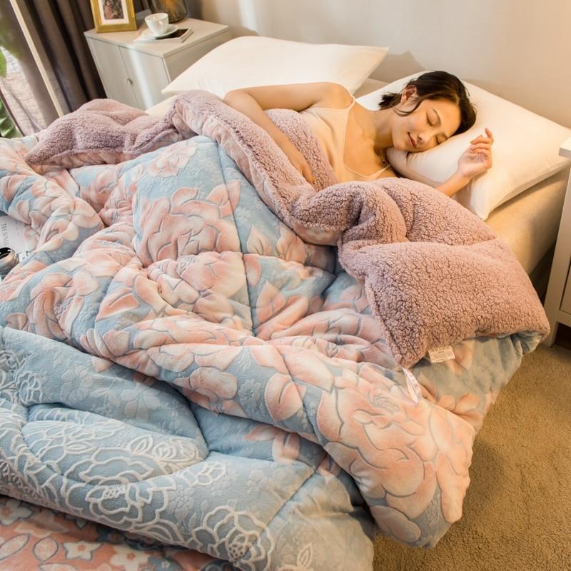 New Luxury Autumn Winter Soft Flannel Berber Fleece Cashmere Warm Thick Comforter QuiltS Bed Set Blanket Mattress Cover|Comforters & Duvets| |  - title=