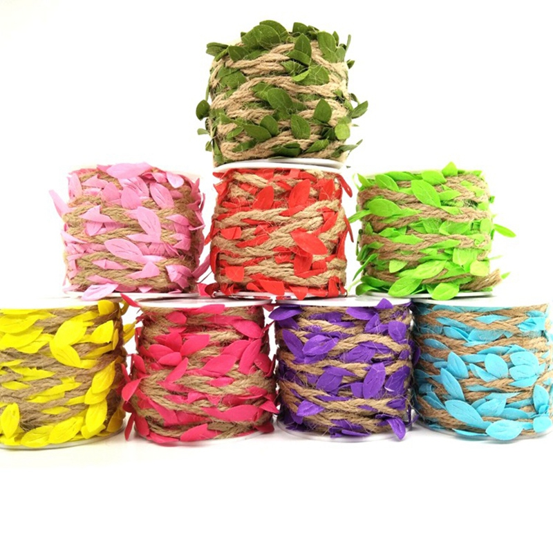 ABZC-8 In 1 Simulation Leaves Weaving Rope Diy Wedding Birthday Wedding Decoration Rattan Gift Bouquet Packaging Rope 5Mm