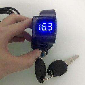 Image 2 - Elektrische Fahrzeug LCD Display Panel Daumen drossel Spannung Schlüssel Schalter Schloss mit Power Schalter für Elektrische Fahrrad/Roller/ebike