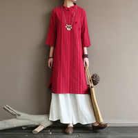 Original medium and high-end women's dress with retro diagonal lapel buckle in the Republic of China style long Zen cotton