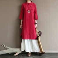 Robe femme originale moyen et haut de gamme avec boucle de revers rétro diagonale en république de chine style long Zen coton