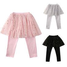 Милые модные детские штаны для маленьких девочек на весну-осень эластичные штаны кружевная юбка-пачка, леггинсы От 2 до 7 лет