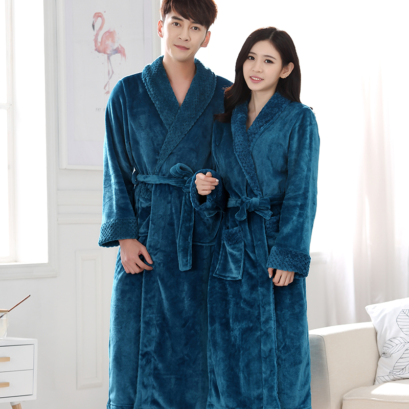 New Lovers Extra Long Winter Warm Bathrobe Men Lounge Waffle Flannel Kimono Bath Robe Male Coral Fleece Robes Mens Dressing Gown