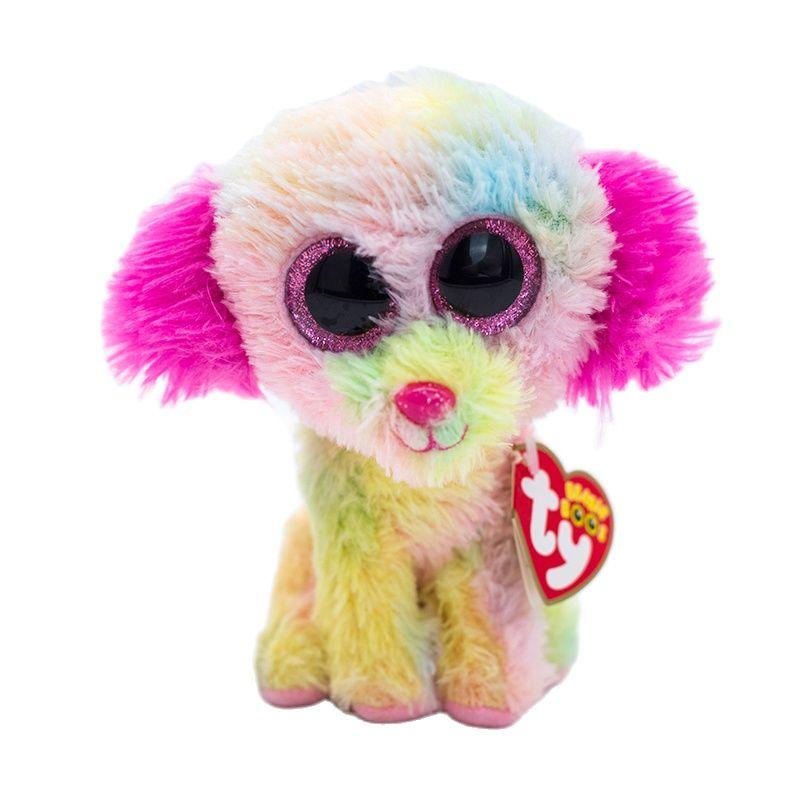 15 см Ty Beanie блестящие большие глаза для влюбленных Милая Цветная собака мягкие плюшевые животные розовые уши собака кукла детские игрушки по...
