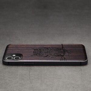 Image 3 - Funda de madera de ébano para iPhone 12 Pro, carcasa de parachoques de TPU tallado para iPhone 12 Pro Max